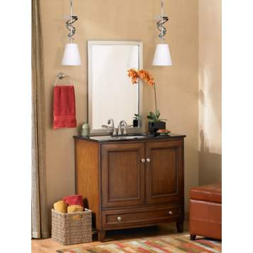 Rust, gold, and cream are gorgeous colors to decorate a transitional bathroom.