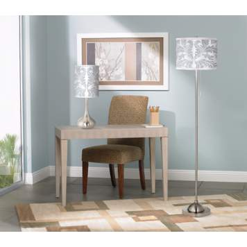 The faux shagreen leather accent table replaces a traditional office desk.