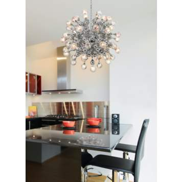 A stunning modern light fixture creates beautiful kitchen decor!