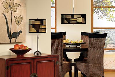 A contemporary dining room design idea with modern geometric elements.