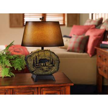 The Sequoia table lamp compliments any rustic decor.