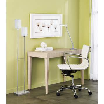 A modern office space using a contemporary accent table.