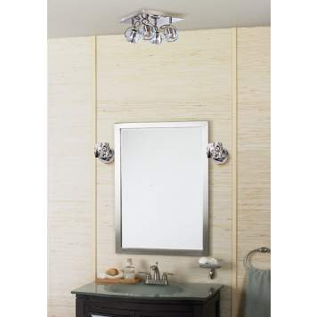 Chrome and crystal bathroom light fixtures make this room extra special.