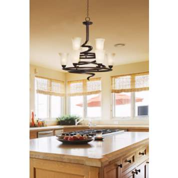 Make a statement in a contemporary kitchen with a stunning spiral chandelier!