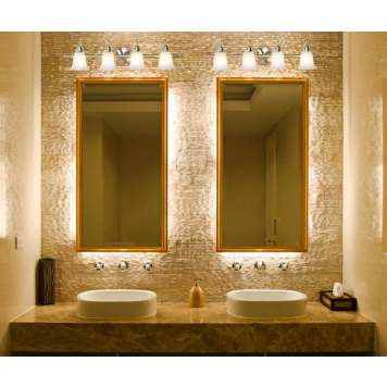 Bright bathroom lighting accents this shimmering textured wall.