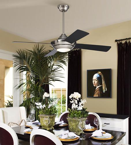 a modern ceiling fan is sure to keep a dining room bright
