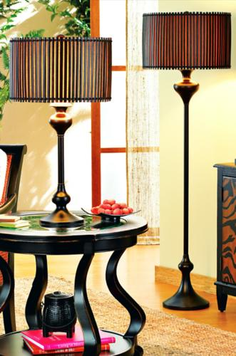 Exotic bamboo lamps.