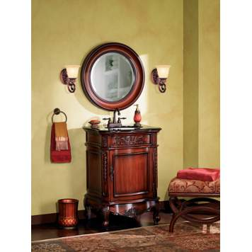 Aged finishes and ornate details create an elegant traditional bathroom picture.