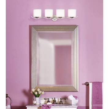 Lavender is a cheery wall color for a transitional bathroom.