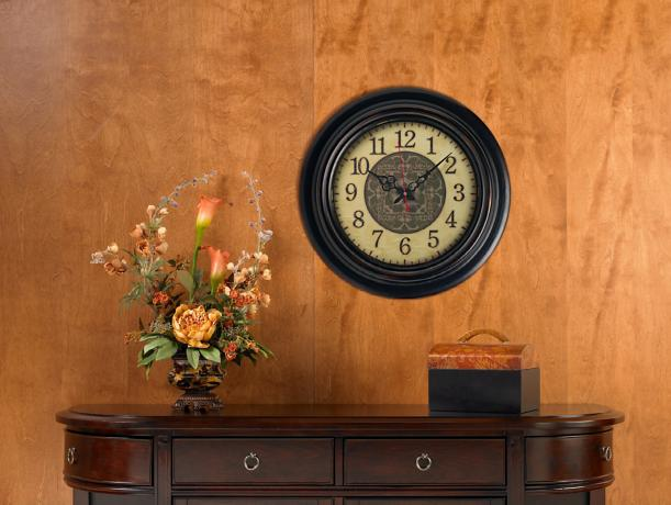 Wall clock in a traditional hallway design.