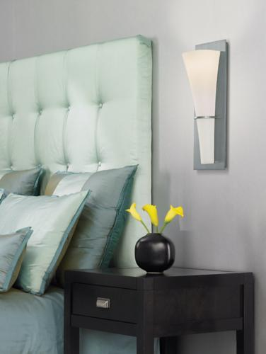 Wall mounted sconces in a contemporary bedroom design.