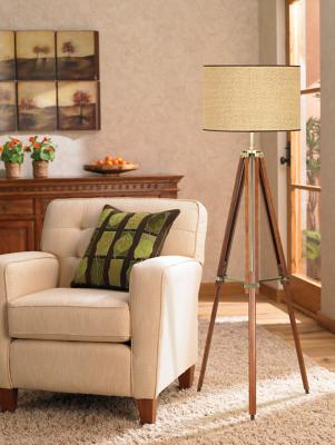 Walnut Wood Tripod Floor Lamp