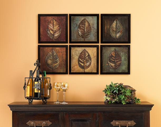 Six panels of wall art make a graphic impact in this for Modern dining room wall art