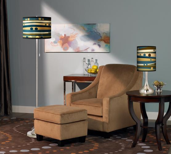 Contemporary room with giclee lamps.
