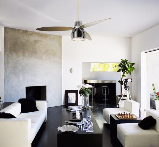 black and white living room, uchiwa ceiling fan, minka aire