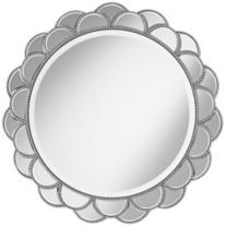 "Silver Petal Sunburst 28"" Wall Mirror"