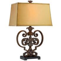 Possini Metal Scroll Heart Table Lamp