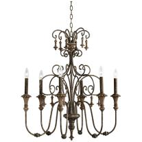 Scrolled Bronze Tiered Chandelier