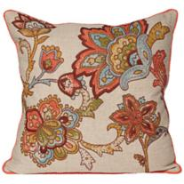 "Eternity Floral 18"" Feather Down Throw Pillow"