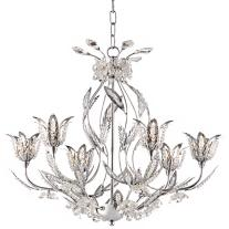 "Elegant Chrome and Crystal Floral 22"" Wide Chandelier"
