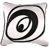 "Black on White Beaded 18"" Pillow"