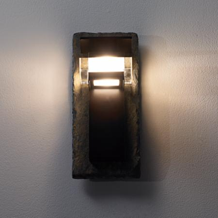 Front View - Natural Slate and Bronze Outdoor Wall Light