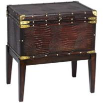 Faux Alligator Leather Chest End Table