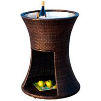 Chestnut PE Wicker Outdoor Ice Caddy