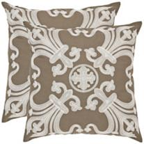 Set of 2 Collette Khaki Square Pillows