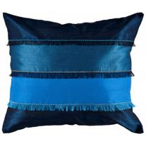 "Fringed Stripe Blue 18"" Throw Pillow"