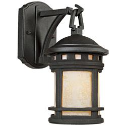 "Sedona 10 3/4"" High Amber Glass Bronze Outdoor Wall Light"
