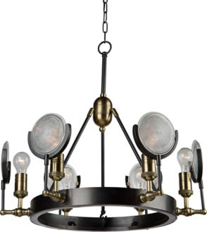 "Baker Street 27 1/2""W Plated Slate 6-Light Chandelier (11Y66)"