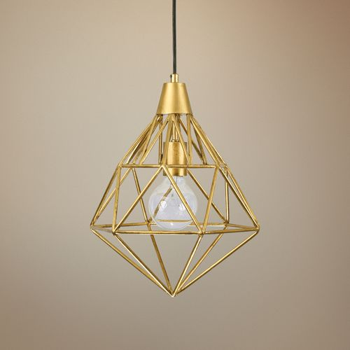 "Varaluz Facet 11"" Wide Gold Leaf Mini Pendant"
