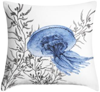 "Blue Jellyfish 18"" Square Throw Pillow (12G11-15X77-7C917)"