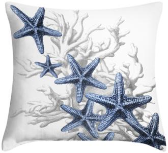 "Blue Starfish 18"" Square Throw Pillow (12G11-15X79-7C917)"