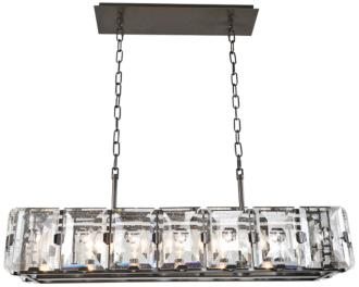 "Giada 37""W Dark Bronze 7-Light Bubble Crystal Island Pendant (13R14)"