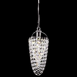 "Contemporary 5"" Wide Silver Crystal Basket Mini Pendant"