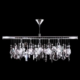 "Contemporary 38""W Silver 5-Light Crystal Island Chandelier (13Y41)"