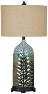 Crestview Collection Rim Blue Feather Ceramic Urn Table Lamp (15P22) 15P22