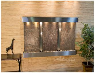 "Olympus Falls 54""H Natural Slate Indoor Steel Wall Fountain (15W44)"