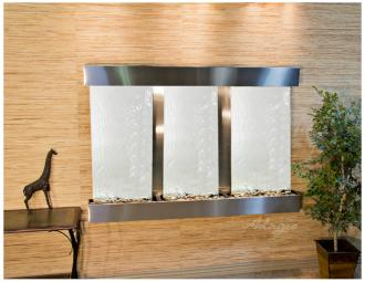 "Olympus Falls 54""H Silver Mirror Indoor Steel Wall Fountain (15W51)"