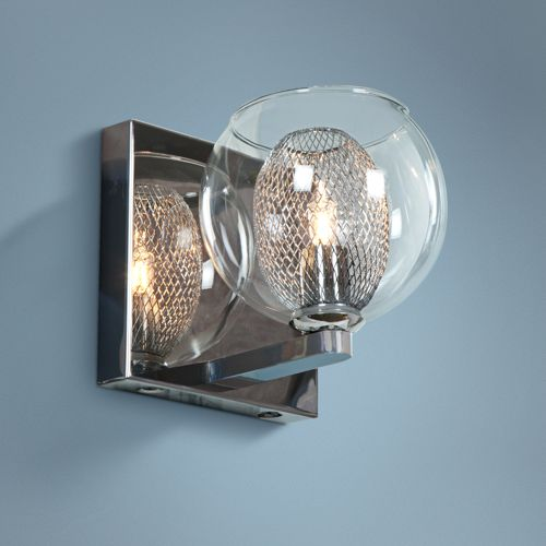 "Aeria 4 3/4"" High Chrome and Clear Glass Modern Wall Sconce"