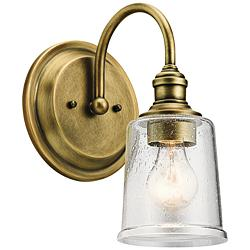 "Kichler Waverly 11 1/2"" High Natural Brass Wall Sconce"