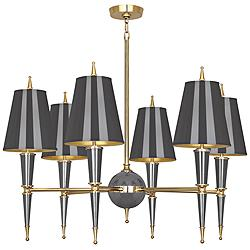 "Versailles 36 3/4""W Ash Lacquer and Ash Shade Chandelier"