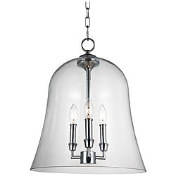 "Feiss Lawler 14 3/4"" Wide Clear Glass Bell 3-Light Pendant"