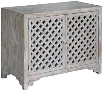 Charlotte White Wash Diamond Lattice 2-Door Accent Cabinet (19N12) 19N12