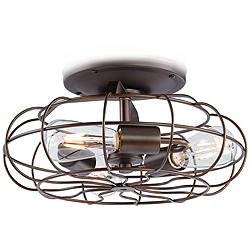 Rubbed Bronze Vintage Cage LED Ceiling Fan Light Kit