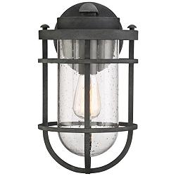 "Quoizel Boardwalk 14"" High Mottled Black Outdoor Wall Light"