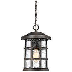 "Quoizel Crusade 15 1/2"" High Bronze Outdoor Hanging Light"