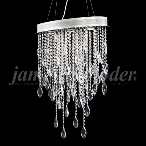 "James Moder Sculptured Crystal Leaf 20""W Silver Chandelier"